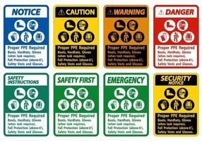 stivali, elmetti protettivi, guanti adeguati quando l'attività richiede una protezione anticaduta con simboli DPI vettore