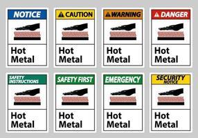 segno di simbolo di metallo caldo isolato su priorità bassa bianca vettore