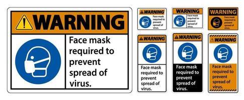 maschera facciale di avvertimento necessaria per prevenire la diffusione del segno del virus su sfondo bianco vettore