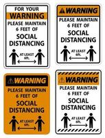 avvertimento per la vostra sicurezza mantenere il segno di allontanamento sociale su sfondo bianco vettore