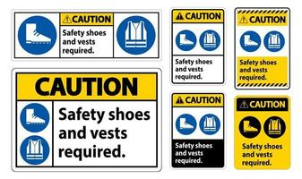 segno di attenzione scarpe di sicurezza e giubbotto richiesto con simboli ppe su sfondo bianco vettore