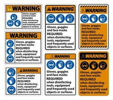 Guanti di avvertimento, occhiali e maschere per il viso obbligatori firmano su sfondo bianco, illustrazione eps.10 vettore