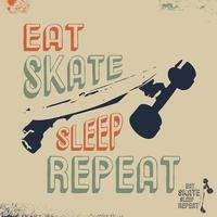 eat skate sleep repeat t-shirt timbro di stampa per maglietta, t-shirt applique, moda, badge, etichette di abbigliamento retrò, jeans o altri prodotti di stampa. illustrazione vettoriale