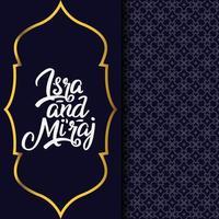 biglietto di auguri isra 'mi'raj con motivo a due elementi e moschea modello vettore