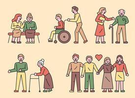 giovani che si prendono cura degli anziani vettore