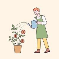 un uomo con un grembiule che innaffia un vaso di fiori. illustrazione di vettore minimo di stile di design piatto.