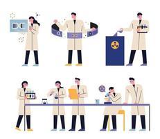 set di caratteri di scienziato. vettore