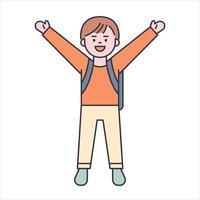 un ragazzo carino sta portando una borsa da scuola, illustrazione vettoriale minimal in stile design piatto.