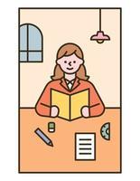 una ragazza è su una scrivania che legge un libro. illustrazione di vettore minimo di stile di design piatto.