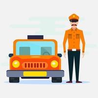 illustrazione del tassista dell'uomo in stile piano vettore