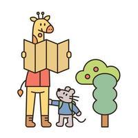 giraffa e topo stanno facendo trekking. la giraffa sta guardando la mappa e il topo è basso e invisibile. illustrazione di vettore minimo di stile di design piatto.