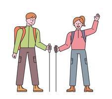 uomini e donne con lo zaino in spalla. un uomo e una donna salutano con i pali in mano. illustrazione di vettore minimo di stile di design piatto.