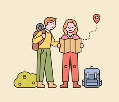 una coppia è in viaggio con lo zaino. sono in piedi sulla strada e guardano la mappa. illustrazione di vettore minimo di stile di design piatto.