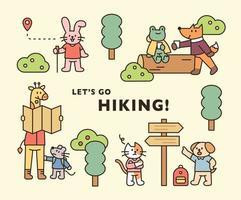 poster di escursioni con animali. simpatici animali stanno viaggiando attraverso la foresta. illustrazione di vettore minimo di stile di design piatto.