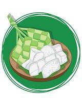 sfondo tradizionale ketupat. fette di ketupat pronte da mangiare. vettore