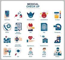set di icone di controllo medico per sito Web, documenti, poster design, stampa, applicazione. stile piano icona di concetto di assistenza sanitaria. vettore