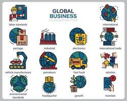 set di icone di affari globali per sito Web, documenti, poster design, stampa, applicazione. icona di concetto di business globale riempito stile contorno. vettore