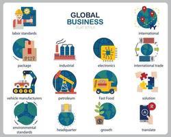set di icone di affari globali per sito Web, documenti, poster design, stampa, applicazione. stile di contorno icona concetto di business globale. vettore