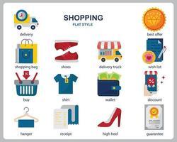 set di icone dello shopping per sito Web, documenti, poster design, stampa, applicazione. stile piatto icona di concetto di acquisto. vettore
