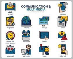 set di icone multimediali di comunicazione per sito Web, documenti, poster design, stampa, applicazione. icona di concetto di comunicazione riempito stile contorno. vettore