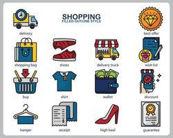 set di icone dello shopping per sito Web, documenti, poster design, stampa, applicazione. icona del concetto di acquisto riempito in stile contorno. vettore