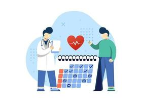 illustrazione di vettore di concetto medico e sanitario. pianificare un check-up medico design piatto con il medico. può utilizzare per la home page, le app mobili. personaggio dei cartoni animati illustrazione stile piatto.