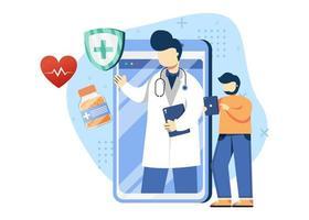 medico in linea e illustrazione di vettore di concetto di assistenza sanitaria. diagnosi in linea, consultazione in linea, medico personale. può essere utilizzato per la home page, le app mobili. personaggio dei cartoni animati illustrazione stile piatto.