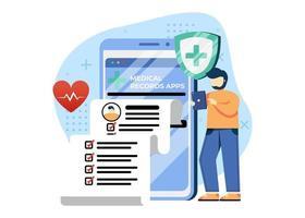 illustrazione di vettore di concetto medico e sanitario. app per cartelle cliniche. anamnesi di controllo medico. può essere utilizzato per la home page, le app mobili, i banner web. personaggio dei cartoni animati illustrazione stile piatto.