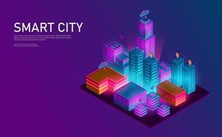 città isometrica lanescape. concetto futuristico. vettore