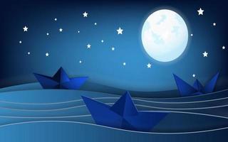 barche a vela sul paesaggio dell'oceano con la luna e le stelle nel cielo notturno vettore