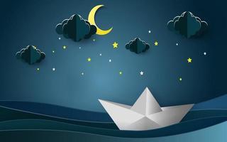 barche a vela sul paesaggio dell'oceano con la luna e le stelle nel cielo notturno. buonanotte concetto. vettore