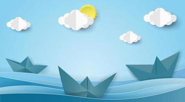 barche a vela sul paesaggio dell'oceano con vista mare sul cielo blu chiaro. concetto di estate. vettore