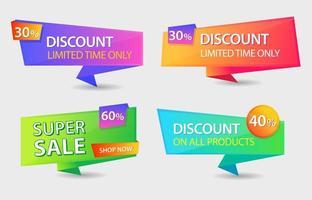vendita, offerta, design del modello di sconto per la promozione online vettore