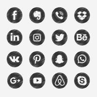 Icone di media di scarabocchio nero