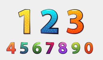 set di numeri colorati vettore