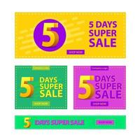set di banner promozionali super vendita vettore