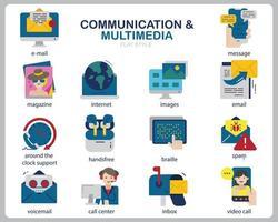 set di icone multimediali di comunicazione per sito Web, documenti, poster design, stampa, applicazione. concetto di comunicazione icona stile piatto. vettore