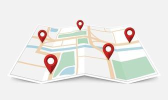 Mappa della città di carta piegata con puntatore a perno rosso, illustrazione vettoriale