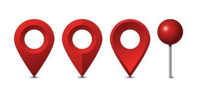 Perni di mappa rosso impostato isolato su sfondo bianco, illustrazione vettoriale