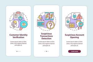 misure di sicurezza bancaria onboarding schermata della pagina dell'app mobile con concetti vettore