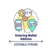 entrando nell'icona del concetto di indirizzo del portafoglio vettore
