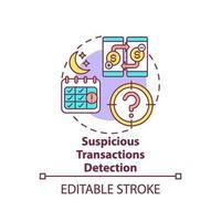 icona del concetto di rilevamento di transazioni sospette vettore