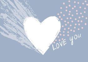 amore cuore calligrafico segno disegnato a mano. fondo di festa dell & # 39; icona di San Valentino. disegno della cartolina d'auguri vettore