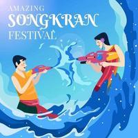 persone che giocano a pistola ad acqua al festival di songkran vettore