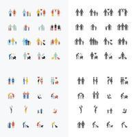famiglia silhouette icone design piatto vettore set.