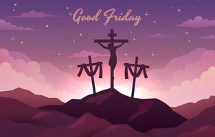 venerdì santo con gesù crocifisso sulla croce vettore