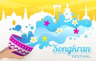 festival di songkran con sfondo silhouette punto di riferimento della thailandia vettore