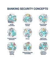 set di icone di concetto di sicurezza bancaria vettore