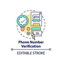 icona del concetto di verifica del numero di telefono vettore