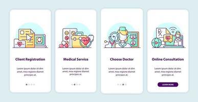 le moderne schermate delle app di onboarding per l'assistenza sanitaria vettore